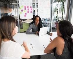 Women meeting in office