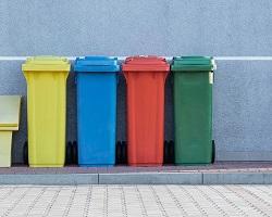 Multicoloured trash cans