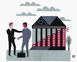 Illustration of two businesspeople shaking hands