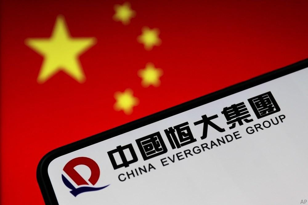 Chinese flag and Evergrande logo