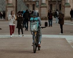 Deliveroo carrier on bike