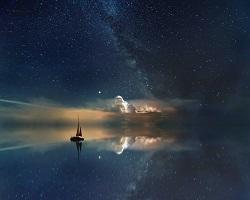 Fantasy scene with sailboat heading into sky illuminated with stars