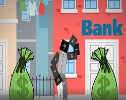 Robot holding bags of cash