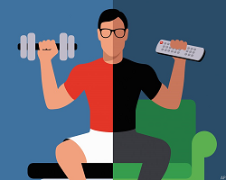 Illustration of man holding weight and tv remote at the same time