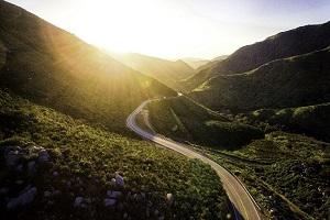 Roadway through mountains