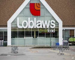 Loblaws grocery store with empty parking lot