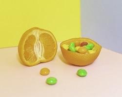 Skittles inside orange