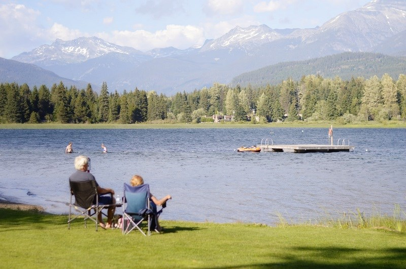 Retired couple at lake