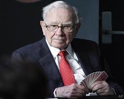 Warren Buffett holding cards small