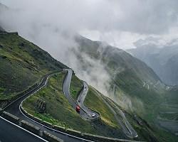 Winding road on a mountain range