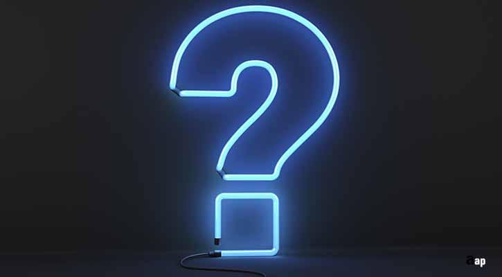 neon blue question mark