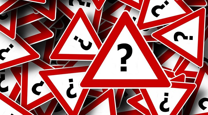 warning triangles with question marks