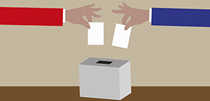Voting in a ballot box