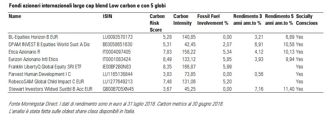 Fondi azionari globali low carbon