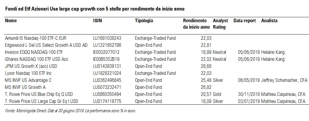 Fondi ed ETF azionari USA large cap growth
