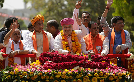 India's ruling Bharatiya Janata Party (BJP) president Amit Shah, centre