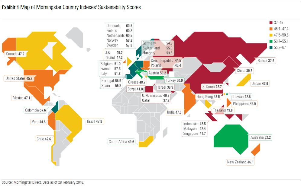 Mappa della sostenibilità di Morningstar