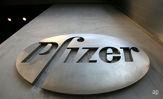 Pfizer logo, Pfizer building, healthcare, exchange traded funds, ETFs, US stock market
