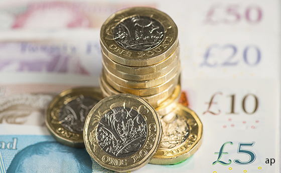 Pound notes and coins