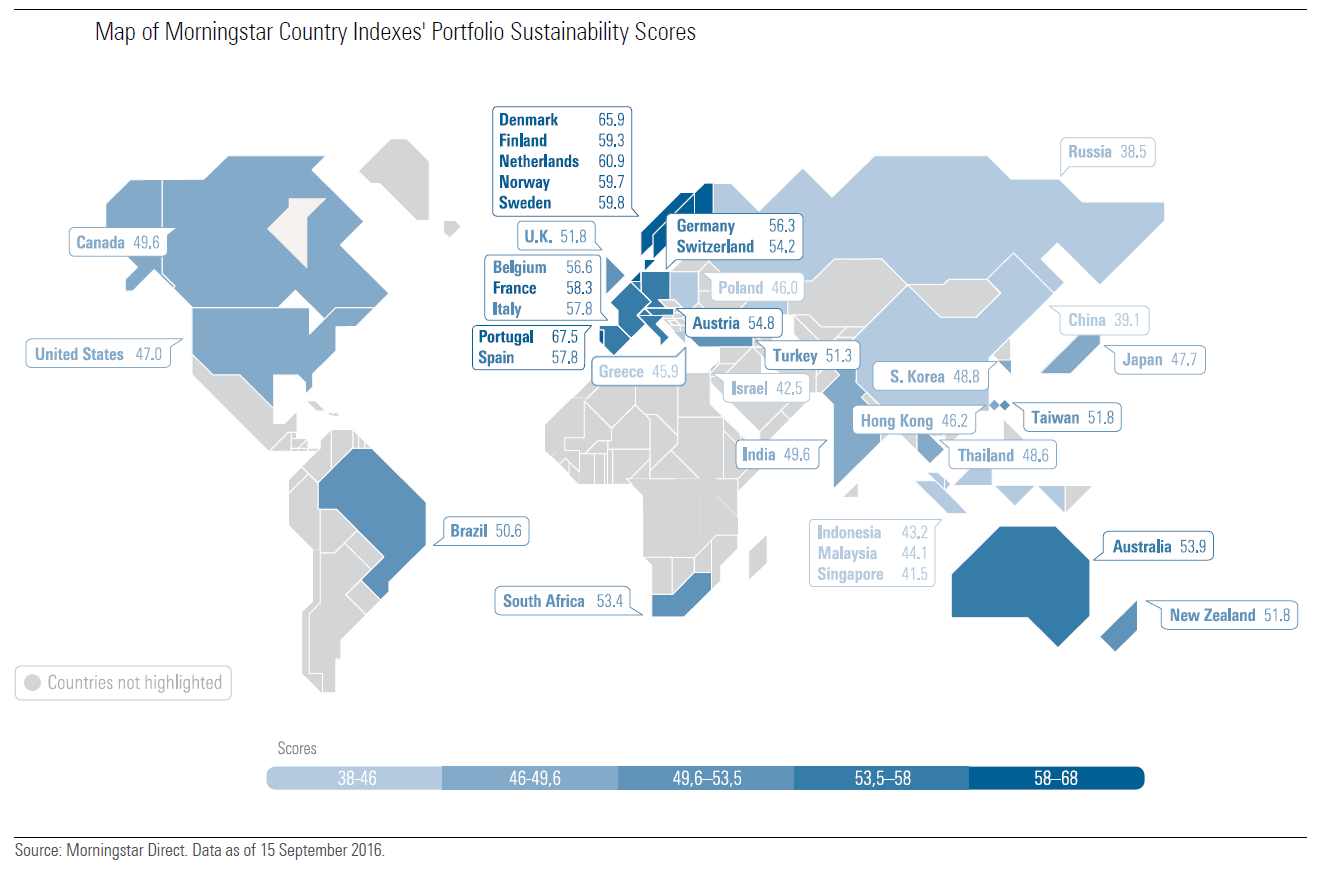 Map of countries' sustainability investment scores