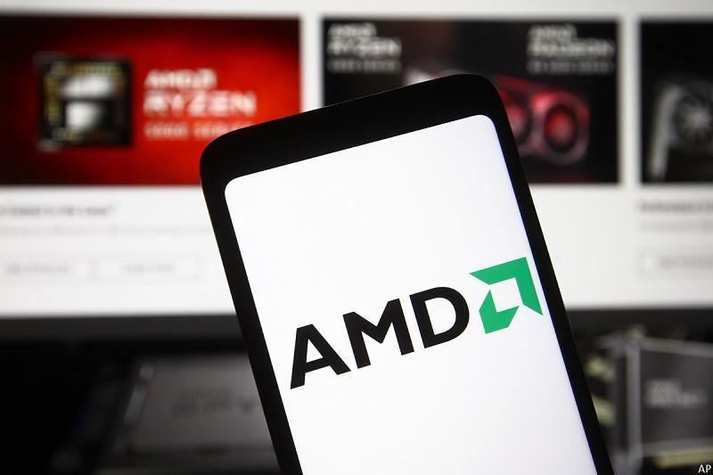 AMD logo in front of website
