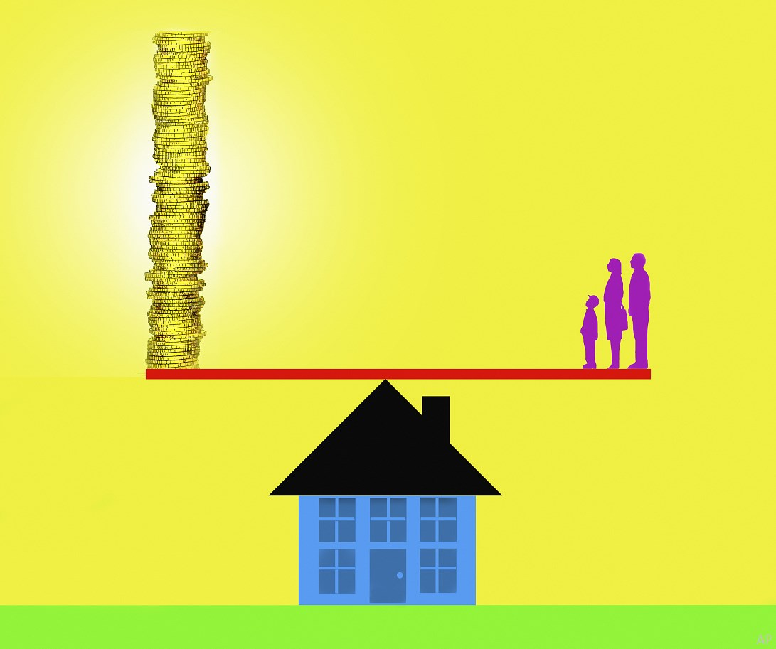 Illustration of a family balancing on a house with coins at the other end of a teeter-totter