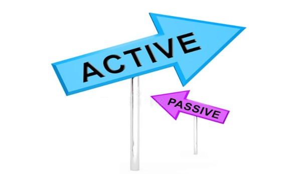 "Two arrows, the larger arrow with ""Active"" and the smaller arrow with ""Passive"""