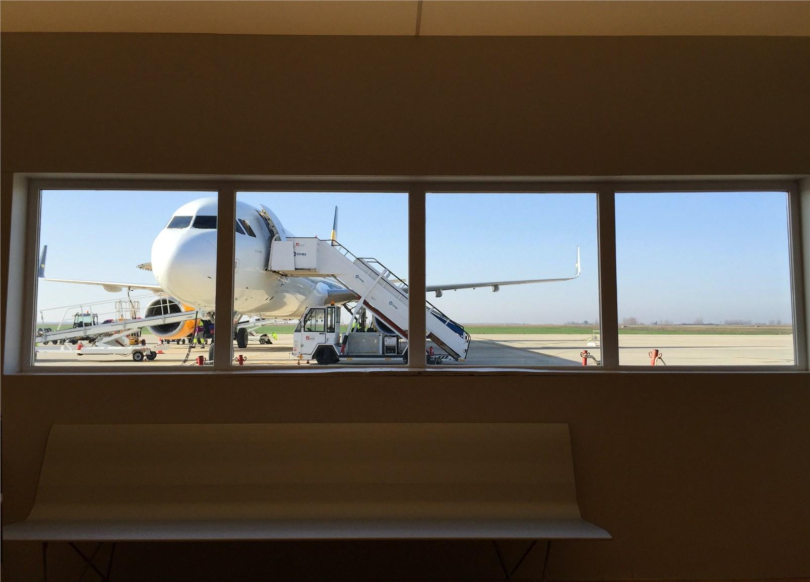 Airplane through a window