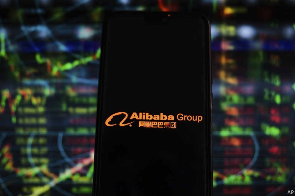 Alibaba logo and stock prices