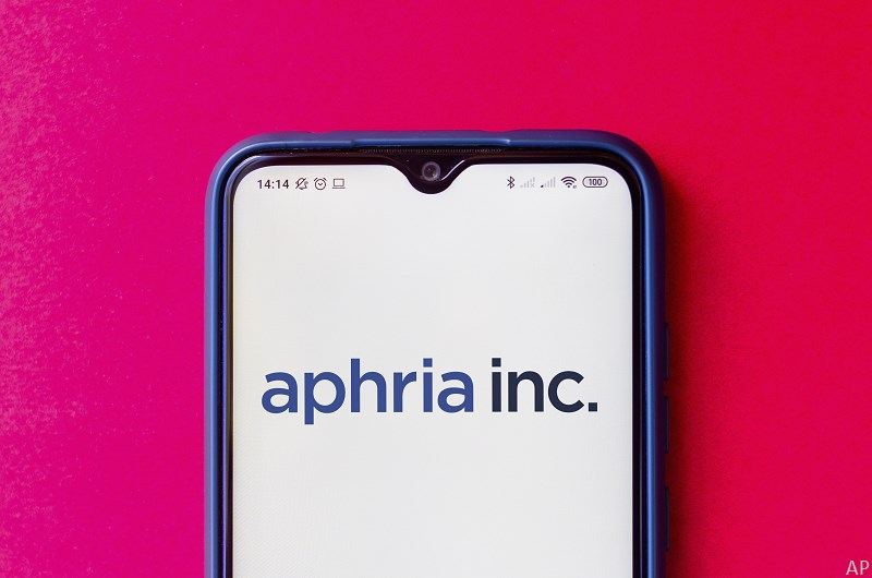 Aphria logo on smartphone