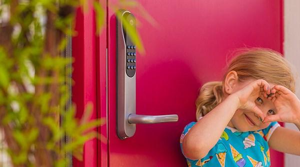Lock on red door