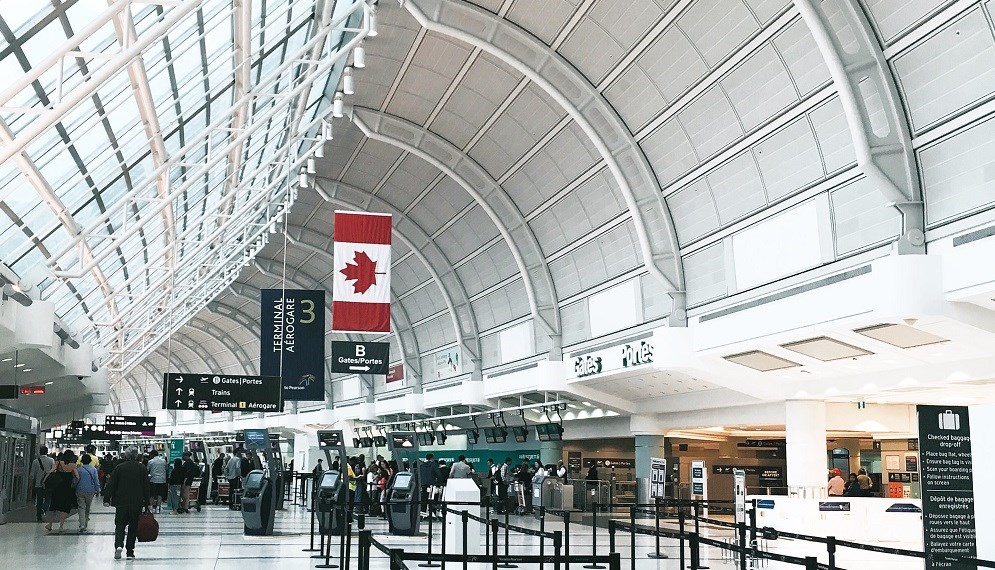 Canadian flag at Pearson airport, Toronto