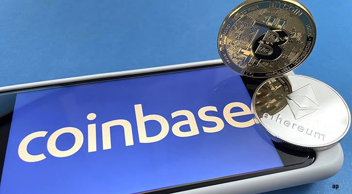 Coinbase on smartphone with Bitcoin