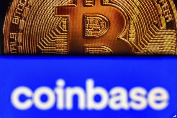 Bitcoin coin and Coinbase logo