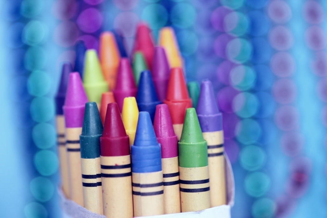 Crayons with digital background