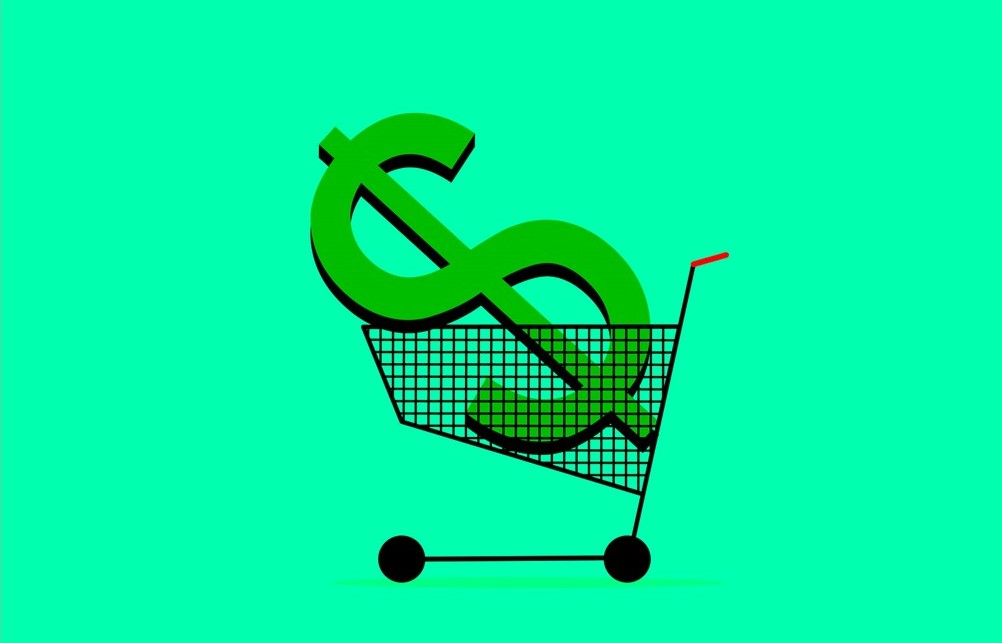 Dollar symbol in shopping trolley