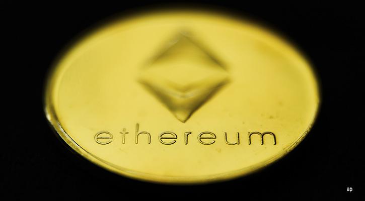 Ethereum logo on black background