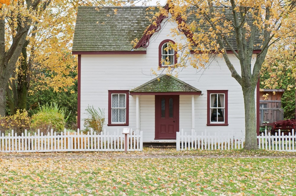 White picket fence and Pioneer home