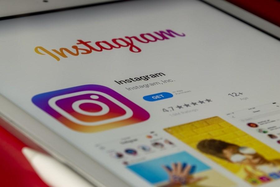 Instagram logo on cellphone