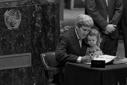 """""""John Kerry signing the Paris Agreement"""""""