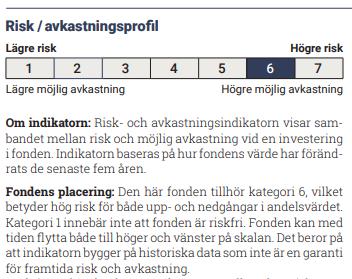 Risk avkastningsprofil KIID Lannebo Småbolag