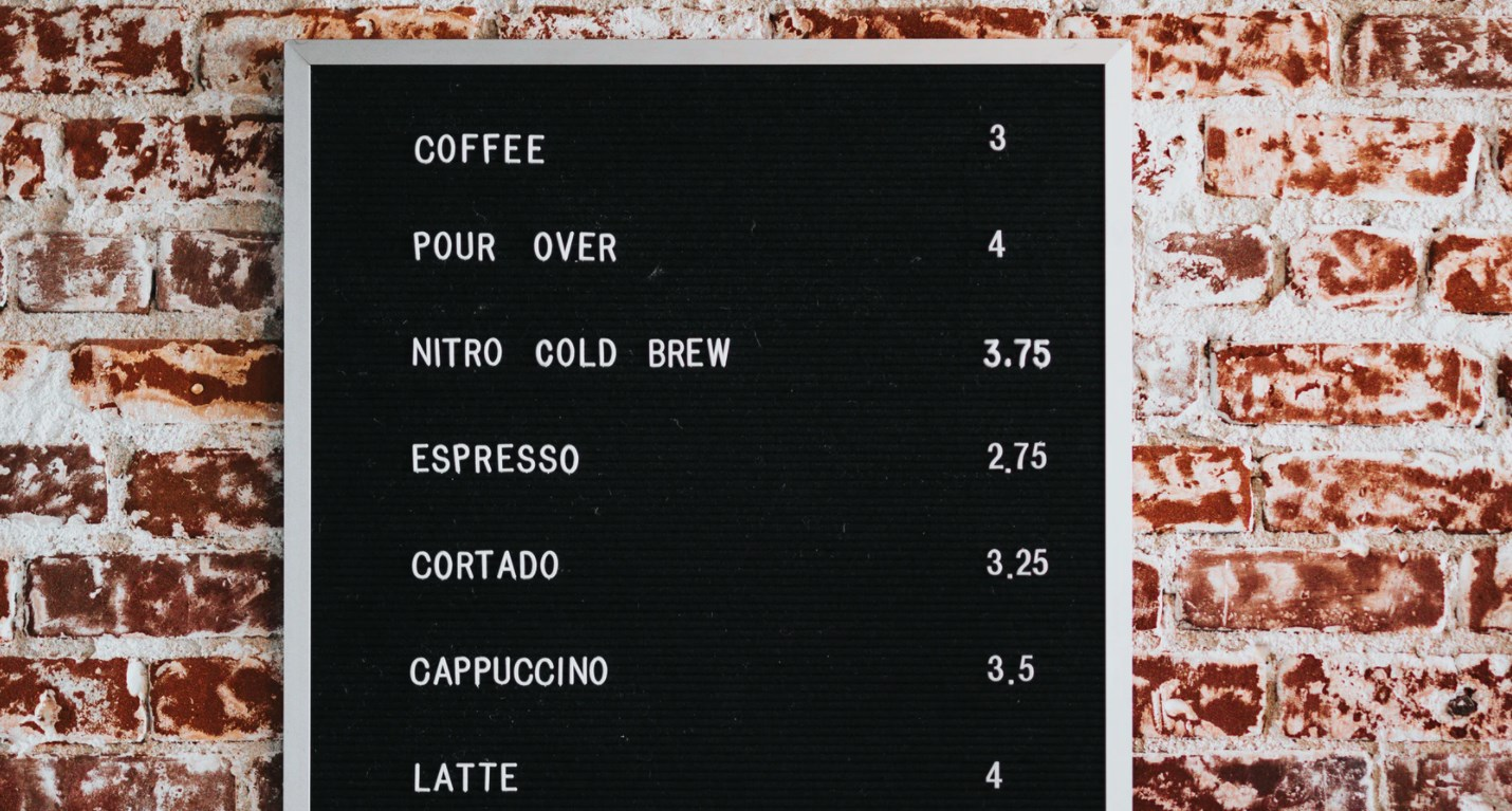 Prices at coffee shop