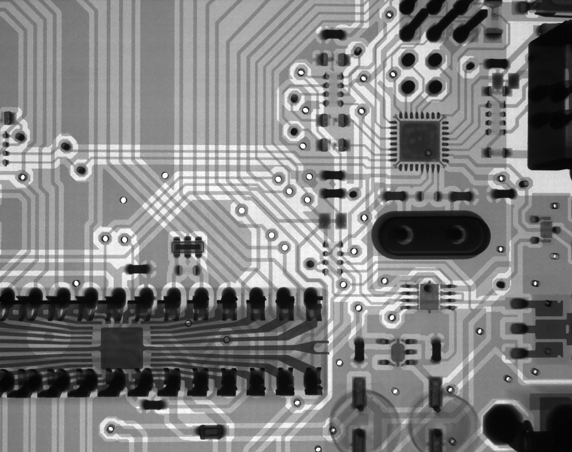 Black and White Image of Microchip