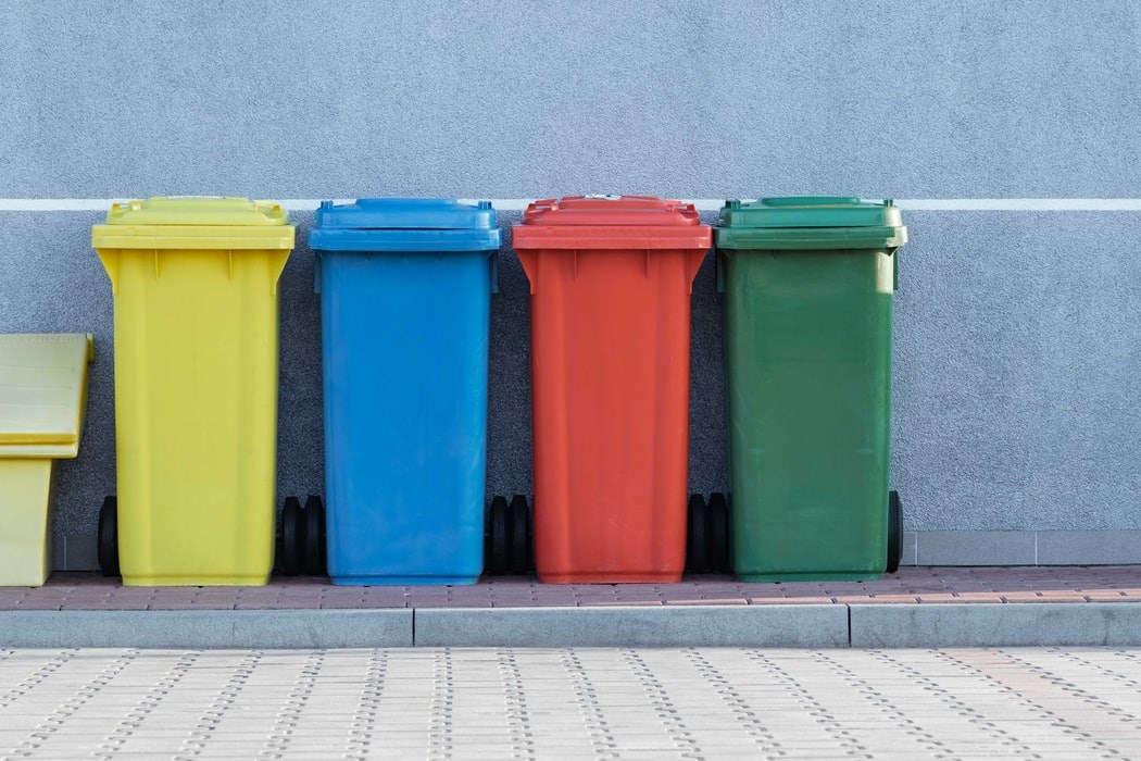 Multicoloured trash cans