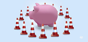 Piggybank with cones protection 300 by 145