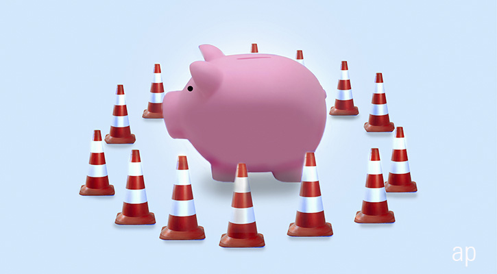 Piggybank with traffic cones protection article