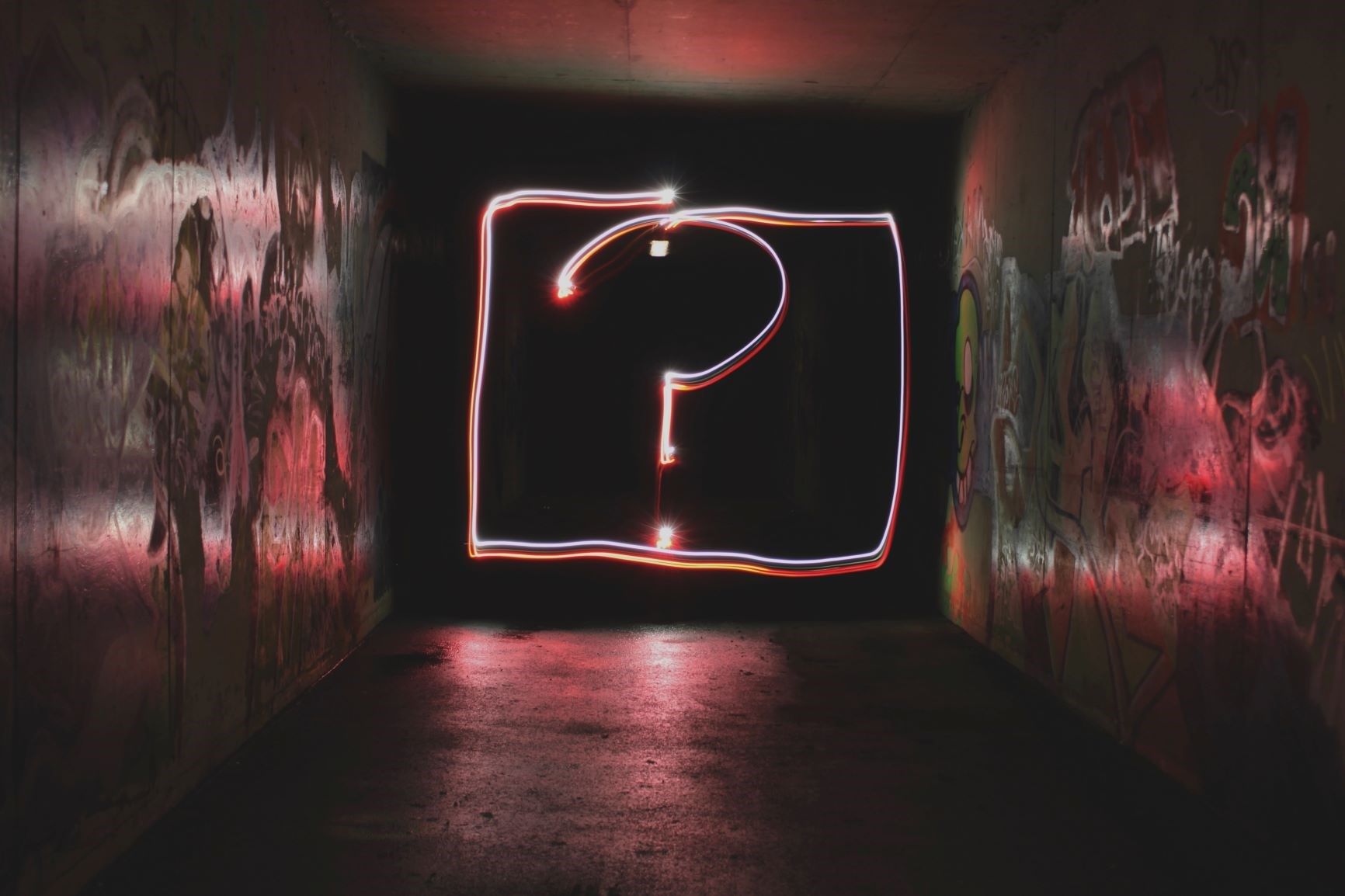 Question Mark in Neon Light