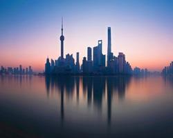 Foggy Shanghai skyline