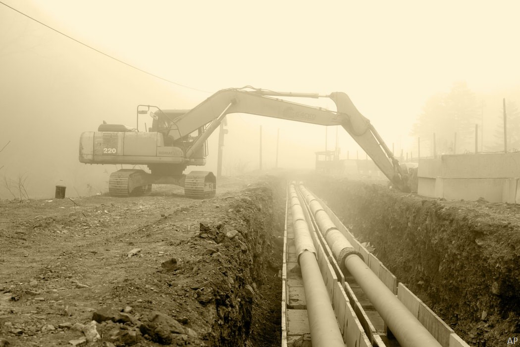 Oil pipeline under construction