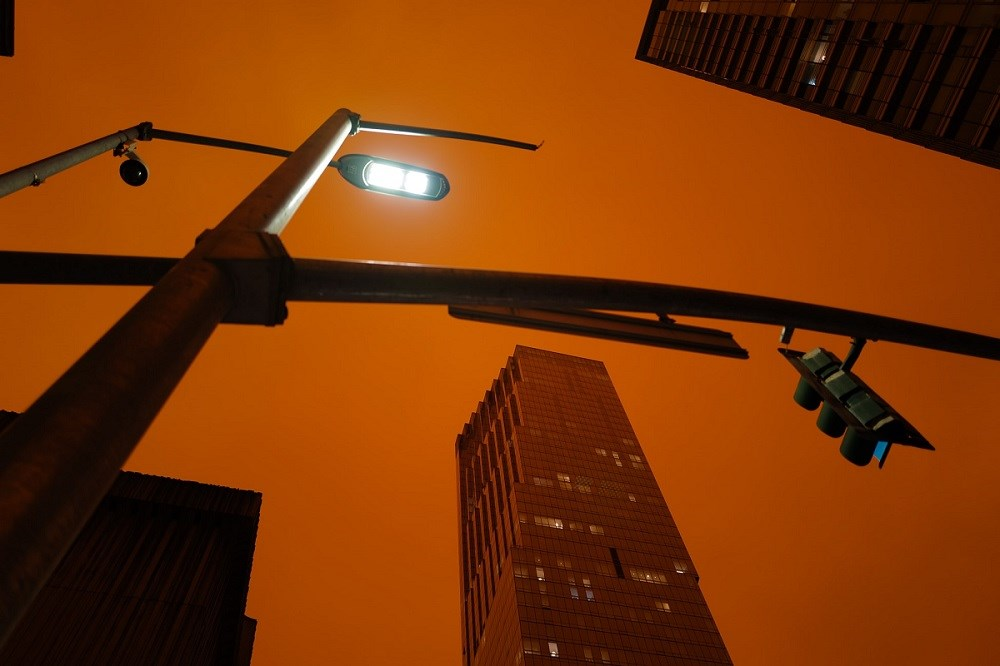 Smoky downtown sky